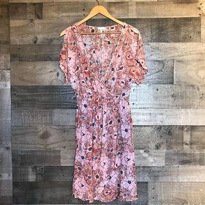 Joie Silk Pink Floral Faux Wrap Drape Front Dress